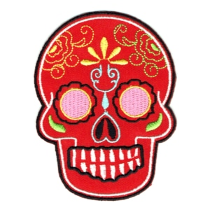 Iron on embroidered red Mexican sugar skull patch