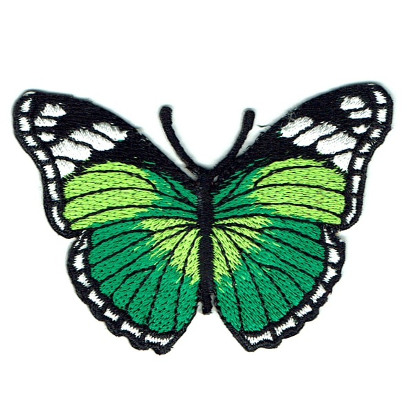 Iron on embroidered green monarch butterfly patch