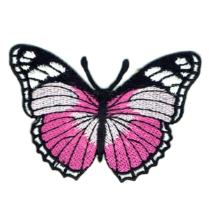 Iron on embroidered pink monarch butterfly patch