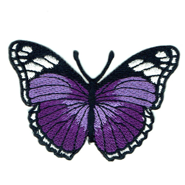 Iron on embroidered purple monarch butterfly patch