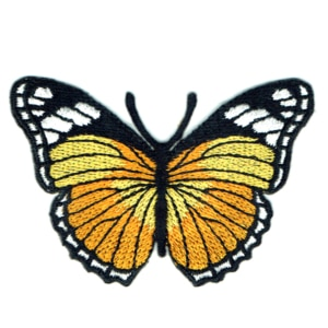 Iron on embroidered yellow monarch butterfly patch