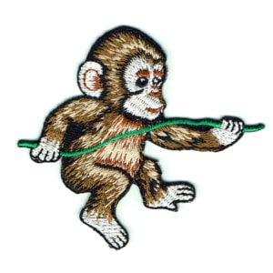Iron on embroidered baby monkey patch