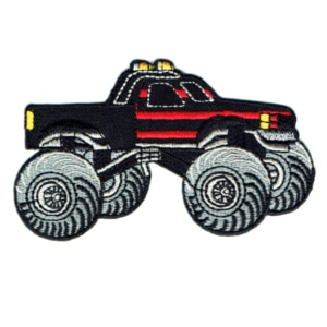 Iron on embroidered black monster truck patch