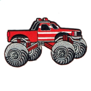 Iron on embroidered red monster truck patch
