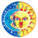 Iron on embroidered round sun surfer patch