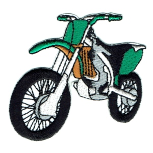 Iron on embroidered green motorcross bike patch