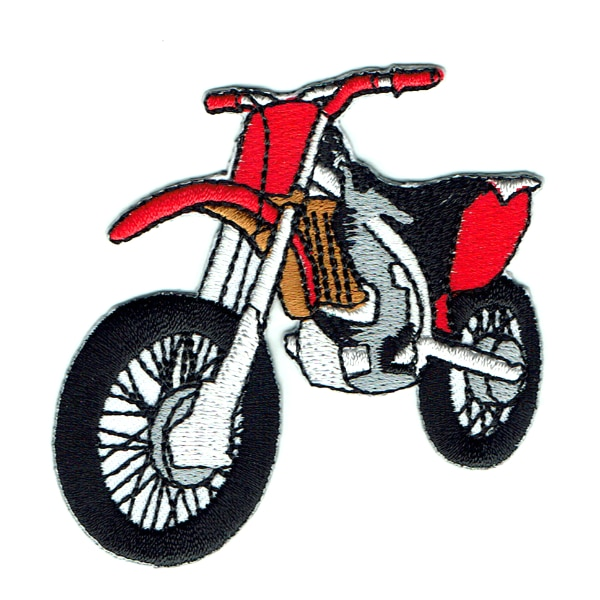 Iron on embroidered red motocross bike patch