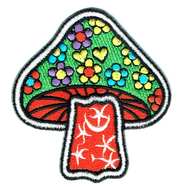 Iron on embroidered orange and green mushroom flower power patch