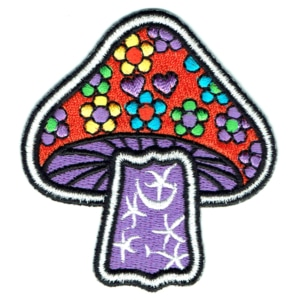 Iron on embroidered orange and purple mushroom flower power patch
