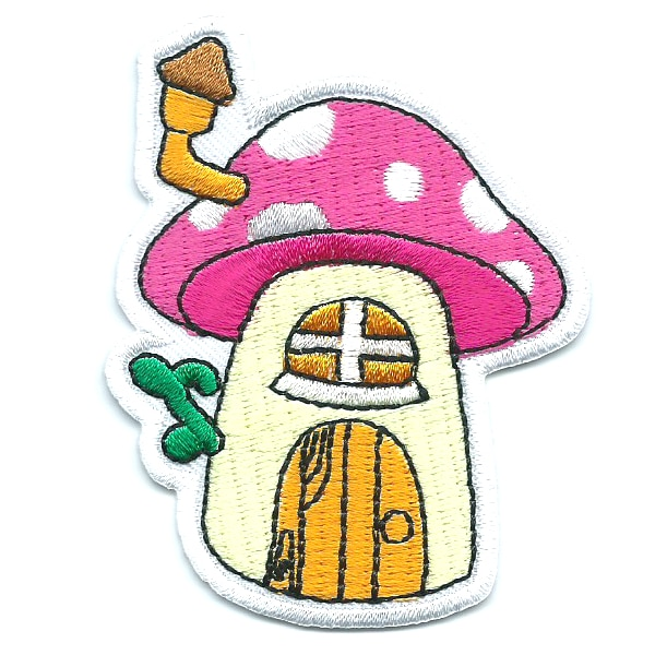Iron on embroidered mushroom house patch