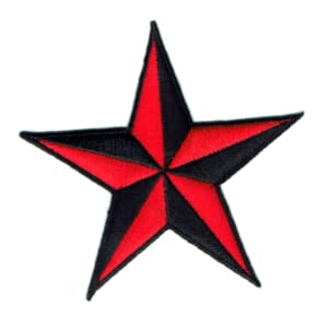 Iron on embroidered red nautical star patch