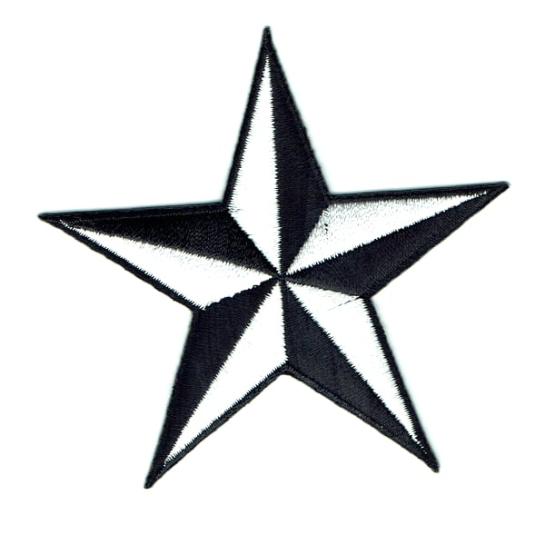 Iron on embroidered white nautical star patch