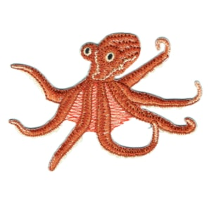 Iron on embroidered octopus patch