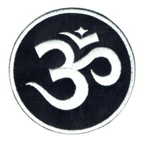 Iron on embroidered round black and white Om patch