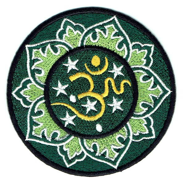Iron on embroidered round green Om Patch