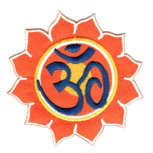 Iron on embroidered orange lotus Om symbol patch