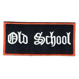 Iron on embroidered rectangular old school patch