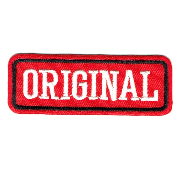 Iron on embroidered red rectangular original patch