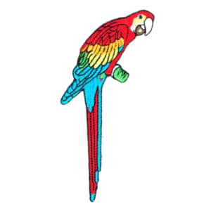 Iron on embroidered colourful parrot bird patch