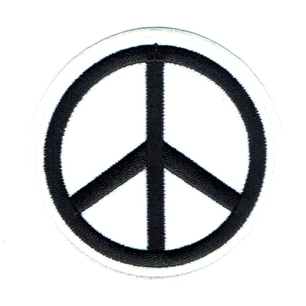Iron on embroidered round white peace symbol patch