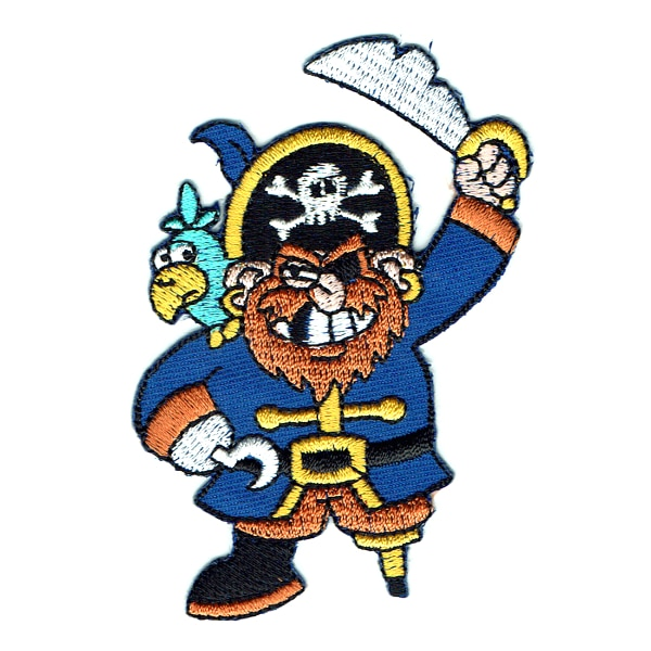 Iron on embroidered patch of a peg leg pirate with a parrot