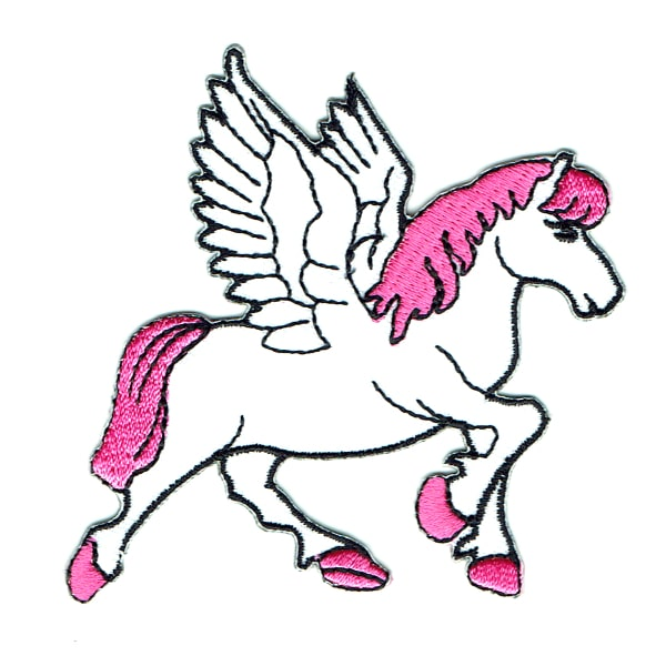 Iron on embroidered pink pegasus patch
