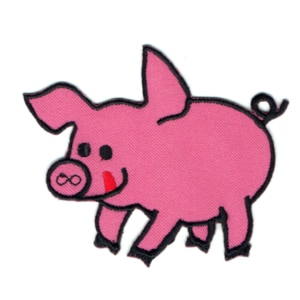 Iron on embroidered pink pig patch