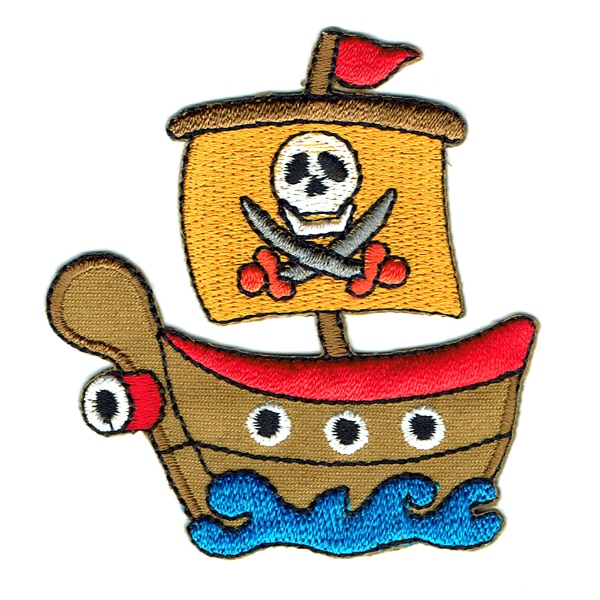 Iron on embroidered kids pirate boat patch