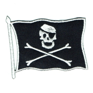 Iron on embroidered black pirate flag patch