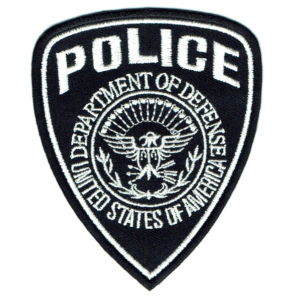Iron on embroidered black and white united states police badge