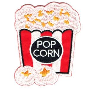 Iron on embroidered bucket of popcorn patch