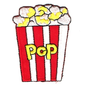 Iron on embroidered popping popcorn patch