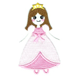 Iron on embroidered patch of a princess girl in a pink dress
