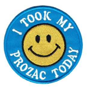 Iron on embroidered round blue I took my prozac today patch