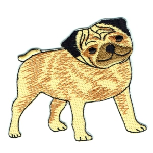 Iron on embroidered pug dog patch
