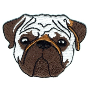 Iron on embroidered pug face patch