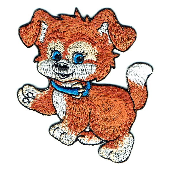 Iron on embroidered cute brown puppy patch