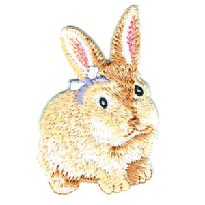 Iron on embroidered rabbit patch