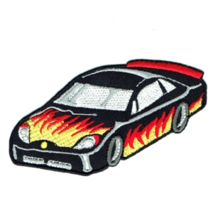 Iron on embroidered black race car with flames patch