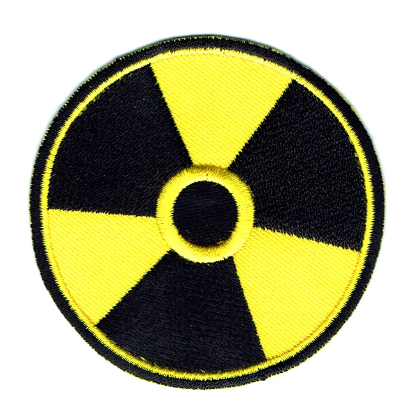Iron on embroidered round yellow radioactive patch