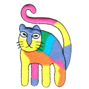 Rainbow iron on embroidered cat patch.