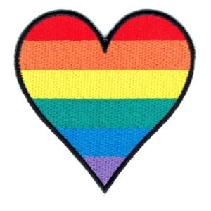 Iron on embroidered rainbow heart shapped patch