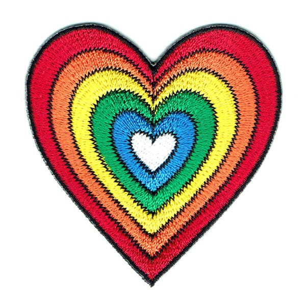 Iron on embroidered funky rainbow heart patch