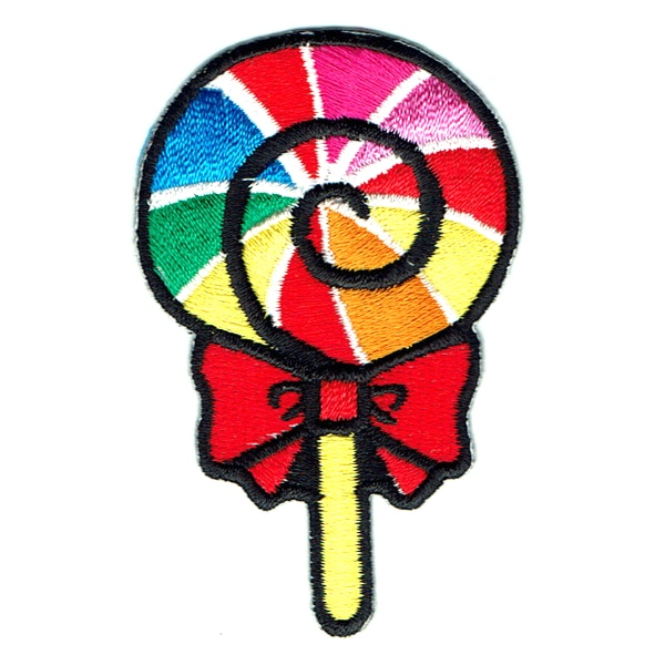 Iron on embroidered rainbow lollipop patch