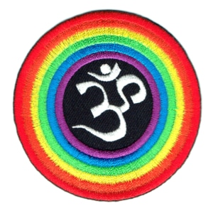 Iron on embroidered round rainbow ohm patch