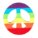 Iron on embroidered round rainbow peace patch