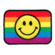 Iron on embroidered rainbow smiley flag patch