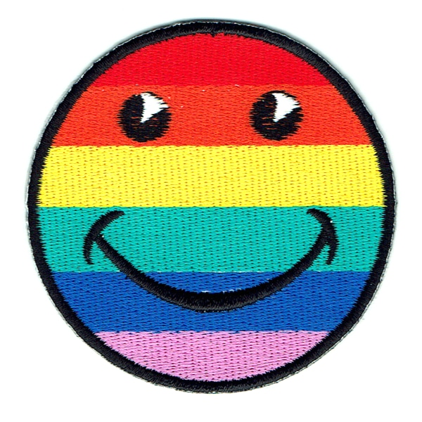 Iron on embroidered rainbow smiley face patch