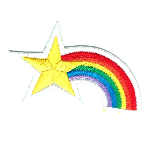 Iron on embroidered rainbow star patch