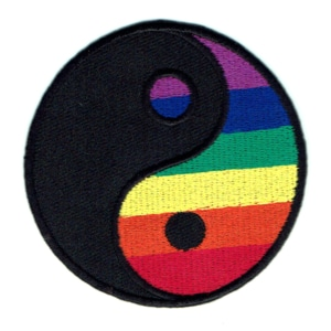Iron on embroidered round rainbow yin yang patch